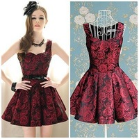 vintage wine rose print sleeveless knee-length ladies slim pleated party dress new fashion 2013