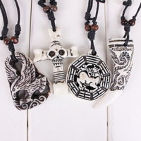 Hot-selling yak bone pendant necklace cross yak bone necklace pendant skull
