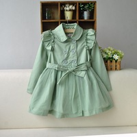 free shipping OW3075  Autumn Children Outwear cotton Girls Trench Coat
