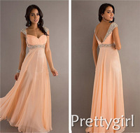ZJ0007 v neck with beads crystal red champagne chiffon maxi formal gown evening elegant long 2013 new arrival