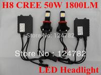 Free shipping Hot Sale CREE 1800lm 50W 6000K H8 LED headlights bulb 12V 24V car head Light bulb car lighting