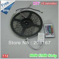 Promotion 12V 5M RGB LED light strips 5050SMD 300LEDS Waterproof  60pcs/lot