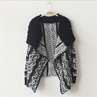 2014 autumn -summer fashion vintage irregular national trend loose plus size cardigan sweater outerwear women's sweaters s009