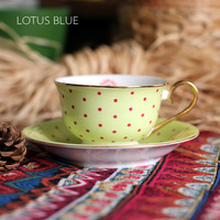 European Style polka dot  7-Ounce bone china coffee cup and saucer with Golden Trim,Yellow Color