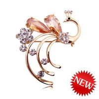 Crystal peacock brooch suit big brooch women's seamline accessories quality