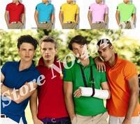 plus size Mens cotton short-sleeve T-Shirt 2014 Fashion Men's designer 2 button shorts tee top brand horse high quality tee