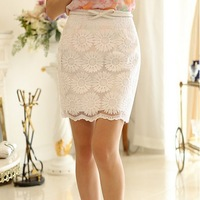 Sunflower hand embroidery summer new fashion women double lining lace skirts,S,M,L,XL,2166