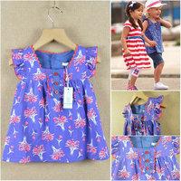 High quality ruffle summer 2013 100% cotton print female child dress shirt top