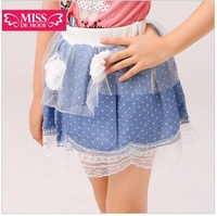 Special!2013 little girls blue Polka-dotted skirt,children girls rose mesh lace skirt Free Shipping