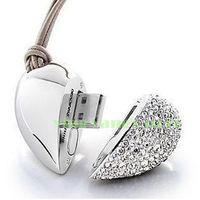 2GB 4GB 8GB 16GB 32GB Crystal Rhinestone Heart Necklace USB Flash Drive Memory Stick Memory