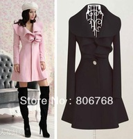 Free Shipping Sweet Princess Style! New Arrival EUR Pink Slim Turn-dTwn Ruffles Collar Wool Coats/ Women Outerwear M-XXL