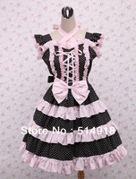 Tomsuit Halter Black with White Dot Cross-strap Bow Cotton Sweet Gothic Lolita Dress with Multi-layers Pink Ruffles