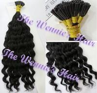 Wennie's 1# Deep Curly Keratin I-tip stick Hair Brazil Original Remy Human Hair Extension 20'' Black 0.5g/s 80g 100s Free Ship