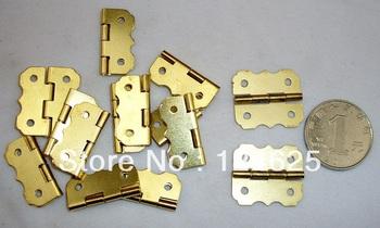 Free Shipping 50Pcs Mini Butt Hinge 25*20mm butterfly shape golden small hinge 90 Angle