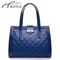 Women's handbag 2013 summer fashion cowhide fashion plaid bags lockbutton shoulder bag messenger bag