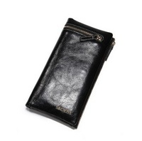 Free Shipping   Male Long Design First Layer Of Cowhide Commercial Wallet Genuine Leather Male Wallet Card Holder Wallet Purse