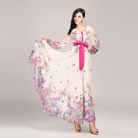BOFEIFS Autumn new arrival print chiffon skirt full dress expansion skirt elegant long-sleeve lyq291 one-piece dress