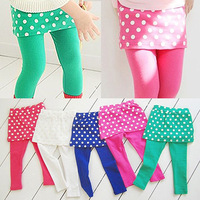 Special Offer Retail 2014 New Arrivals Autumn Spring Kids Girls Leggings Children  Polka Dot Culottes babys skirt  pants