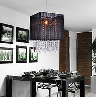 E27 30L x 30W x 46H cm Stylish Pendant Light with Black Fabric Brushed Shade  Transparent Crystal