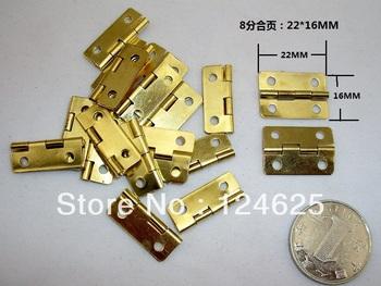 Free shipping 50Pcs Mini Cabinet Drawer Butt Hinge 8 hinge 22*16 copper gold small hinge