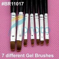 [AE606] 7 Pcs Black Nail Art Brush Set for UV Gel Builder Professional Kolinsky  Hair Nail Gel  Brush Kit Nail Tools Pen