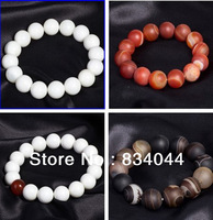 Free shipping fashion 2013 buddha bohemian vintage religious pure white pebble & giant clam beaded bracelets for men mix order