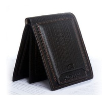 Free shipping Mens real genuine Leather Wallet Pockets Card Clutch Cente Bifold Purse Black
