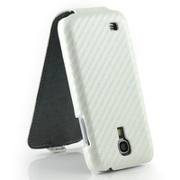 White Carbon Fiber Flip Leather Cover Case for Samsung Galaxy S4 mini i9190