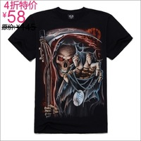 free shipping Metal personalized short-sleeve T-shirt male fashion male o-neck 3d T-shirt sickle skull