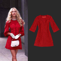 Free shipping 2013 famous brand design dress women new wool lace Red dresses for autumn spring 9-1-17