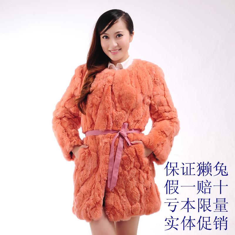 Free shipping EMS. Factory direct sale! Genuine Fur coat medium-long rex rabbit hair vest female overcoat fox fur(China (Mainland))