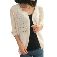 Spring and autumn cutout half sleeve sweater female cardigan air conditioning shirt cape female coat