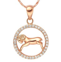 Aries constellation korea style popular girl necklace 2013 for women 18k rose gold filled crystal brass jewelry 2013 #9168