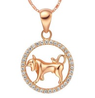 Taurus constellation korea style popular girl necklace 2013 for women 18k rose gold filled crystal brass jewelry 2013 #91612
