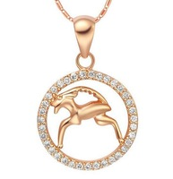 Capricorn constellation korea style popular girl necklace 2013 for women 18k rose gold filled crystal brass jewelry 2013 #91611