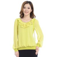 2013 autumn boutique women's o-neck bow loose plus size chiffon t-shirt 62081