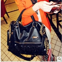 2013 New Fashion women's bundle leopard print paillette leather handbag shoulder bag cross-body bag