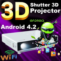 Amazing high-end projectors Android 4.2 Smart Full HD Shutter 3D/ convert 2D to 3D Built-in battery Portable Pico DLP Projector