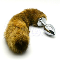 Soft Fox Tail Metal Butt Plug, Stainless Steel with Captive Tail, Sexy Toys for Female, Adult Products
