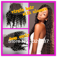 Queen Hair :cheap factory price 4*4 silk base closure brazilian virgin human hair free parting can be parted anywhere