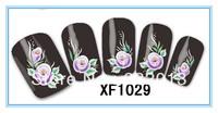 Wholesale Cheap Finger applique False nail art sticker watermark water transfer Flower Print decal Patch XF1029