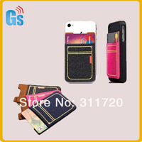 Free shipping  Hot Selling New Arrival Phone Pouch Phone Back Removable Sticker Nylon Smart Wallet Card  Holder