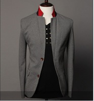 2013 New Brand Fashion Men Color Matching Collar Slim Casual High Quality Business Blazer Coat Wholesale Free Shipping9030