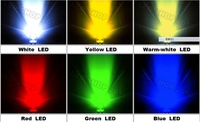 100pcs 0.5W 10mm White,warm white,blue,yellow,green,red  LED High-Power Lamp Light 100MA 30KMCD