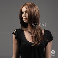 "2013 HOT sale Free shipping Flaxen long wave wigs,100%Kanekalon 24"" wavy  wig"