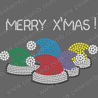 Wholesale 30Pcs/Lot Free Shipping Santa Claus'S Hats Iron On Rhinestone Christmas Transfer Designs Hotfix Motif