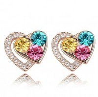 Hot Sale 18K gold plated austrian crystal heart stud earrings fashion jewelry 1147