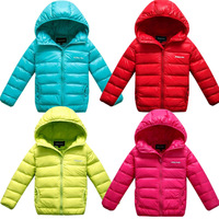 Free shipping autumn and winter children duck down jacket kids candy color short design zipper jacket coat warm outerwear
