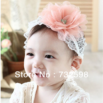 Toddlers Kids Hairband Baby Big Flower Hairwear Lace Band Headband 0-3Y 3 Colors Free&Drop shipping