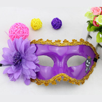 Halloween party princess flower laciness mask lily flower 26g 18.5*9cm 3 color Plastic 5pieces Halloween product mask on sale